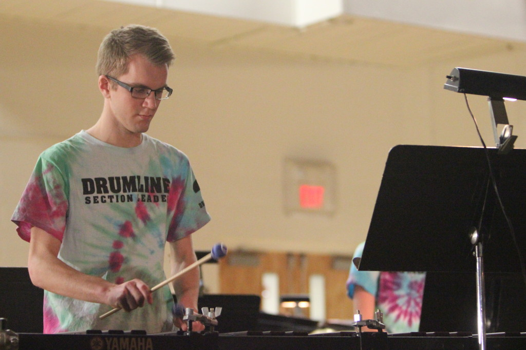 Senior Tommy Truelsen plays marimba.