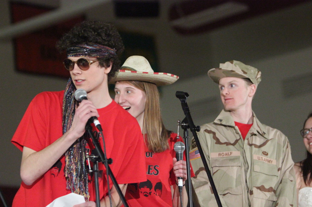 Emcees for the night were juniors Brian Keiser (not pictured), Nathan Hall (left), Becky Ochoa (middle), and Savannah Lipinski (not pictured), with senior Daniel Reinart (right).