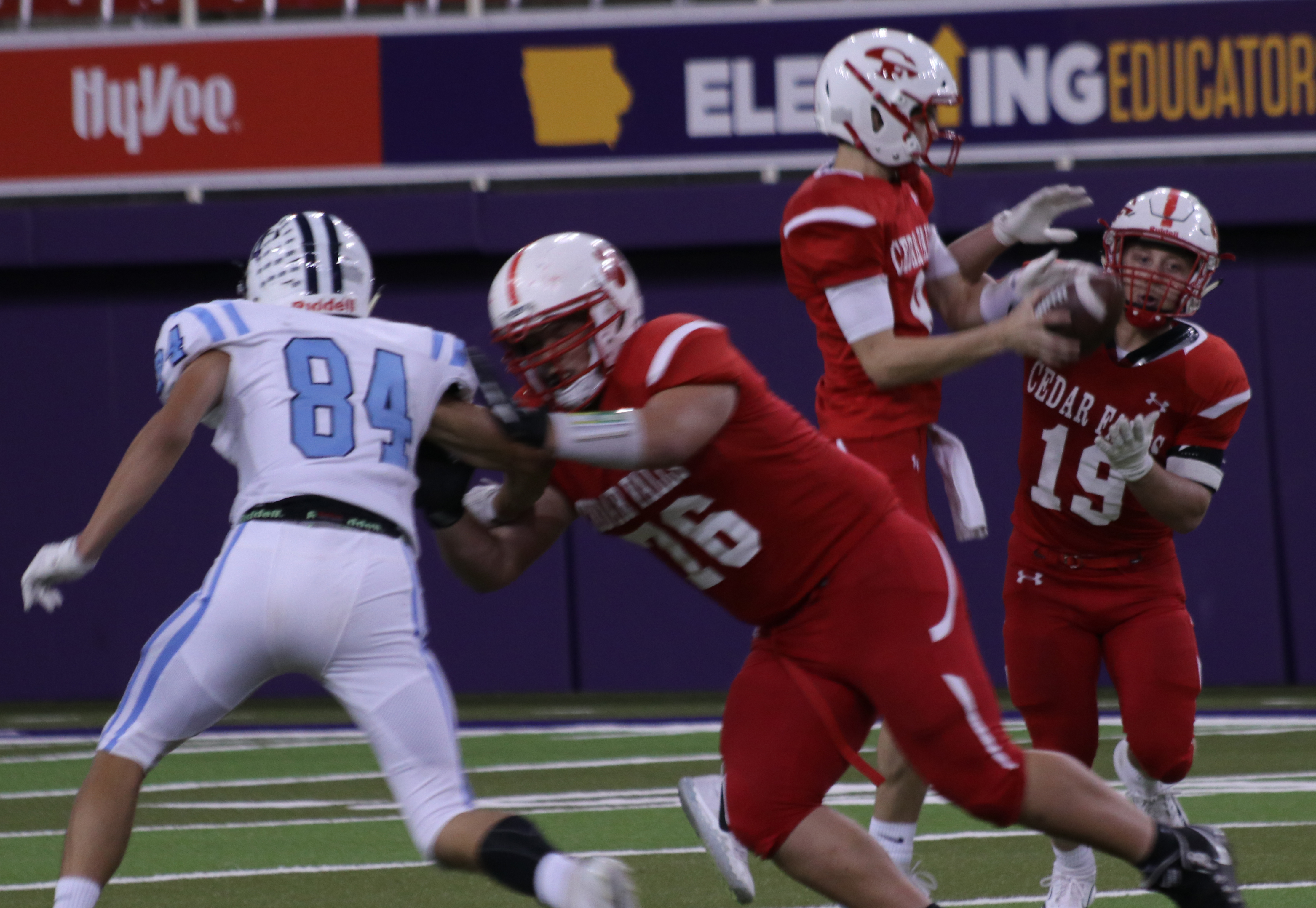 The football team beat the J-Hawks at the homecoming game at the UNI Dome on Friday, Sept. 28.
